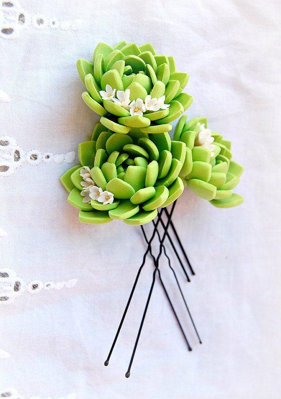 succulent hair pin