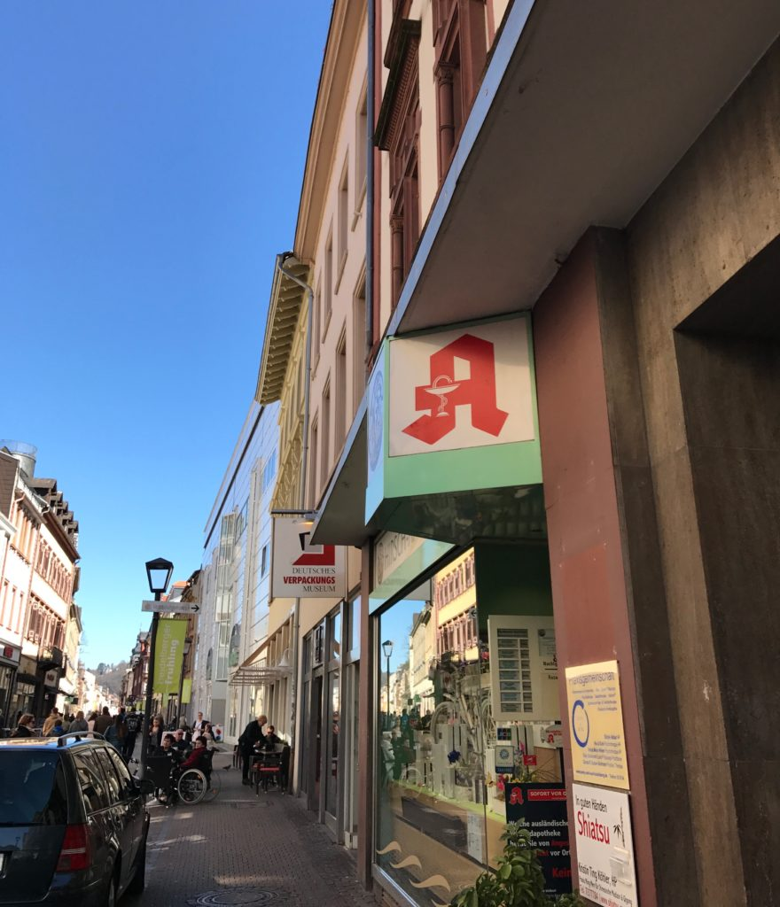 This is the red A sign you're looking for - an Apotheke in Germany.