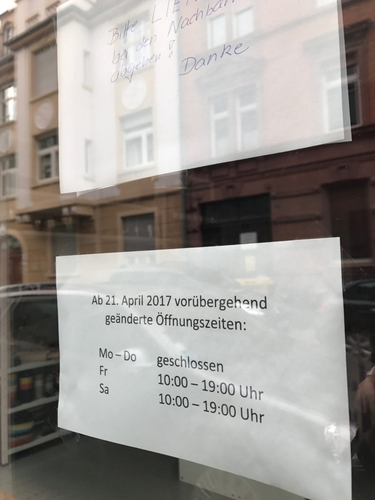 Local shop opening hours, must plan ahead in the Germany!