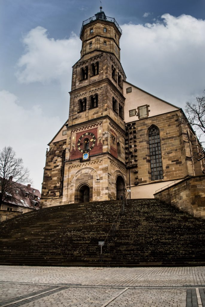 The famous St Michael's church with it's front steps used for open-air theatre productions.