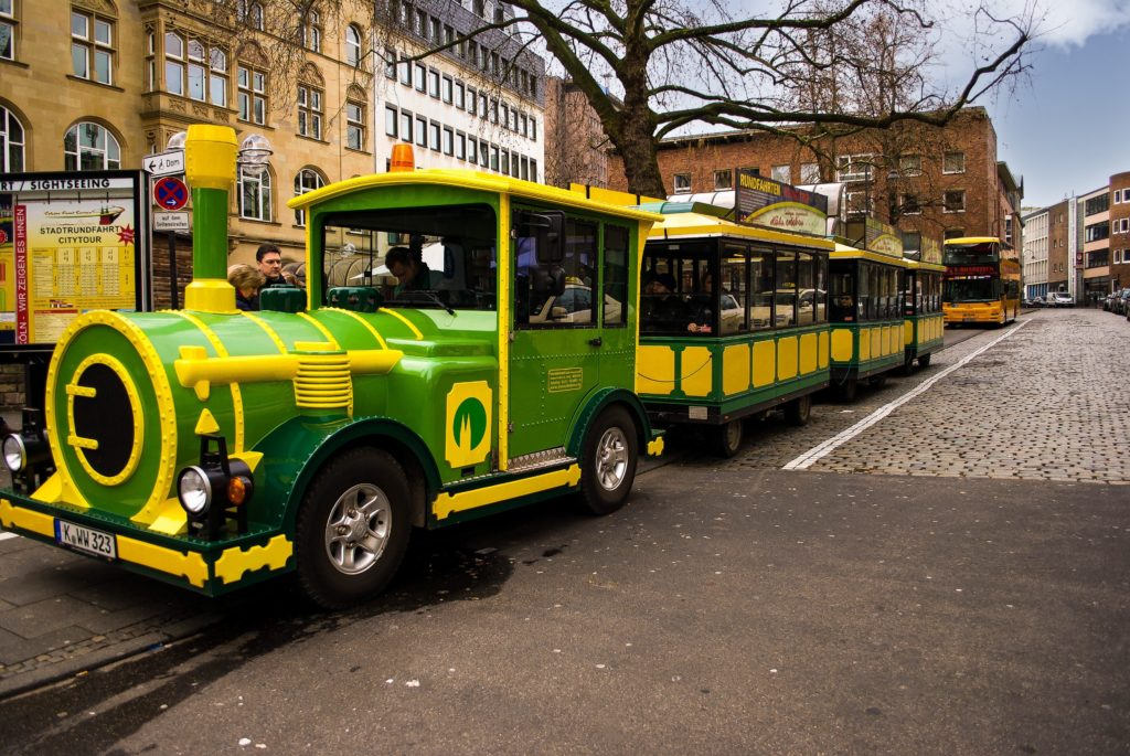 The cute Chocolate Express minitrain in Cologne that takes you from the Cologne Cathedral to the Chocolate Museum.