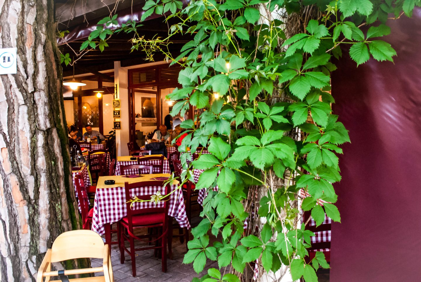 The pretty outdoor patio at one of the many restaurants.