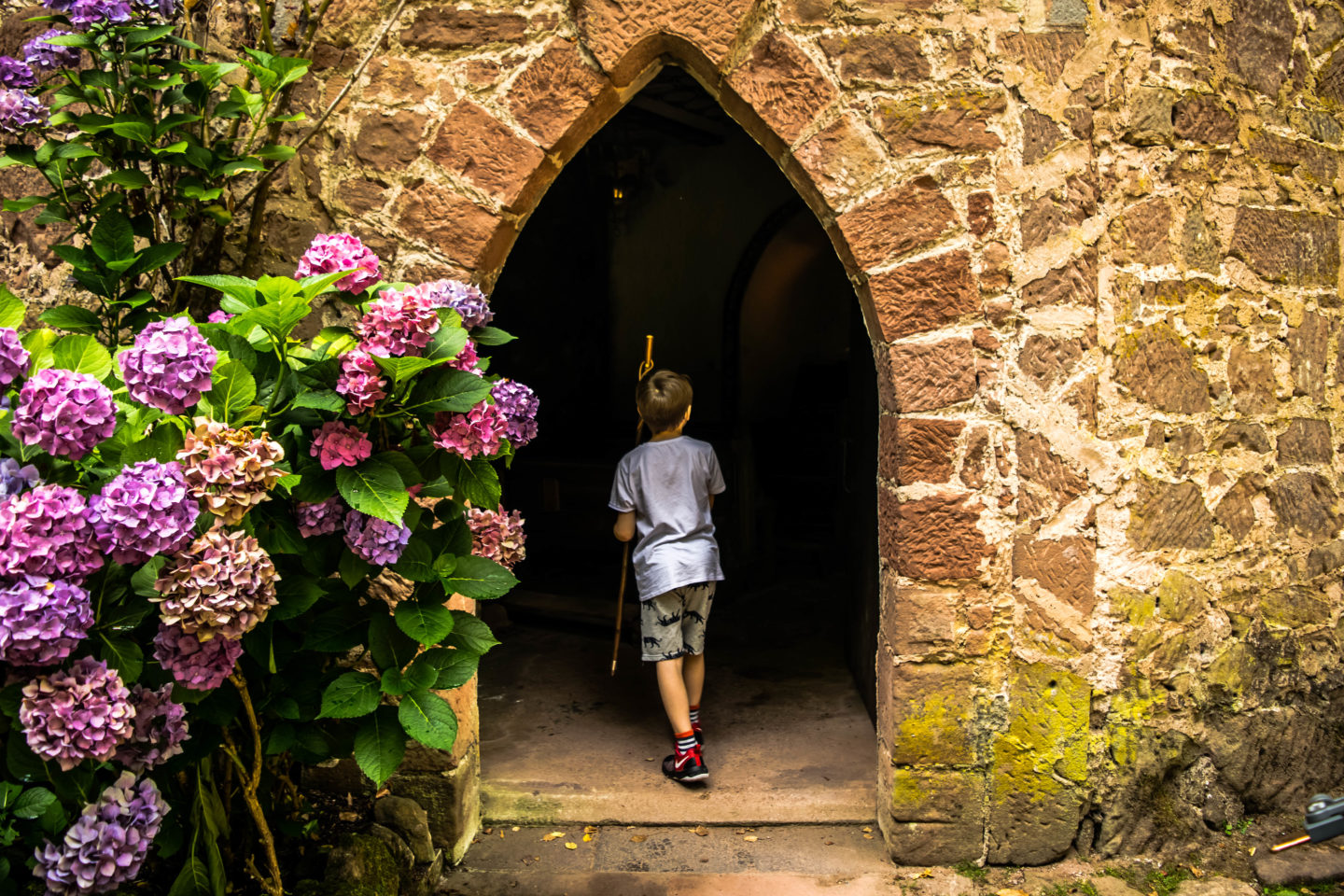 My son exploring the chapel at Burg Berwartstein