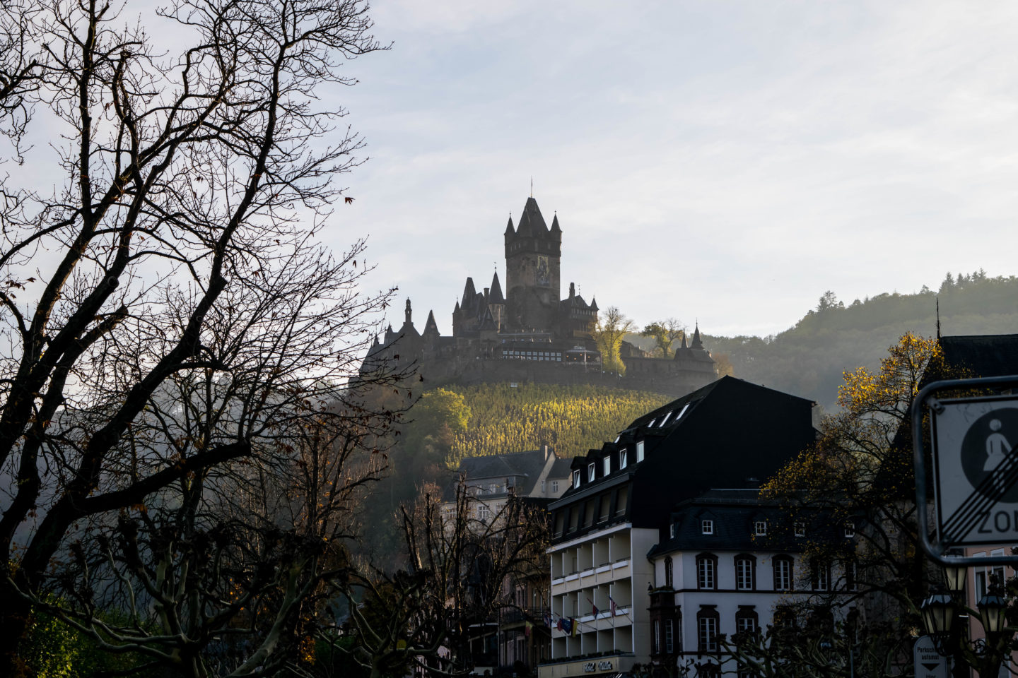 The Cochem Castle from the town
