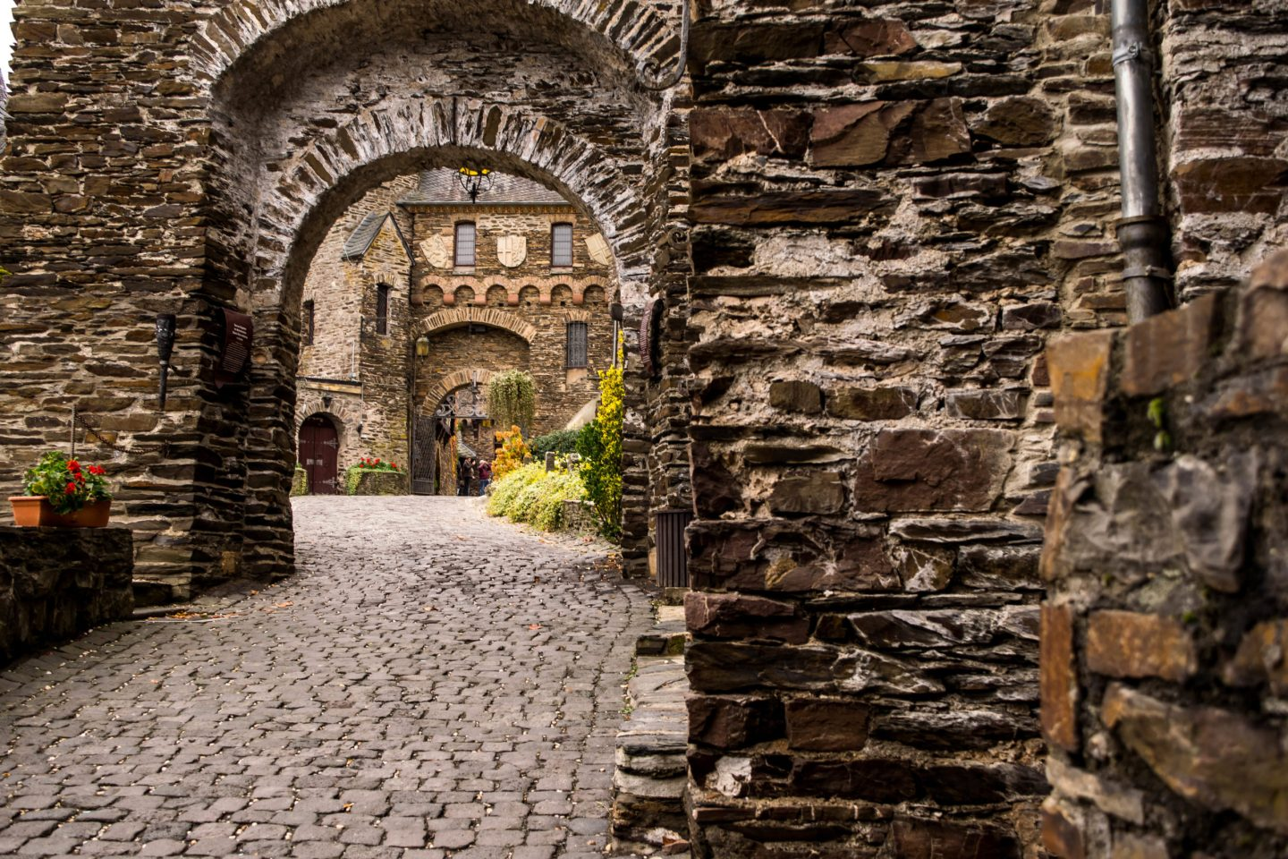 Looking through the many arches at Cochem Castle
