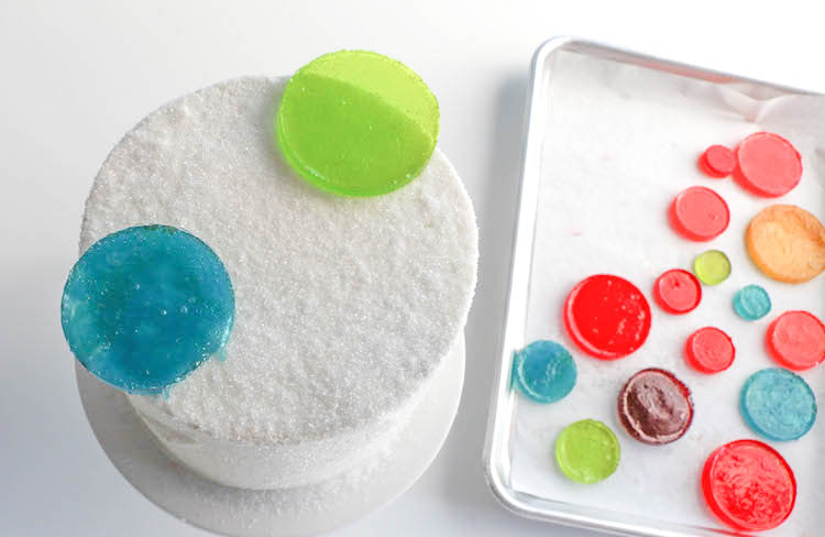 Arranging the Candy Circles on the Cake | Erin Bakes | Erin Gardner