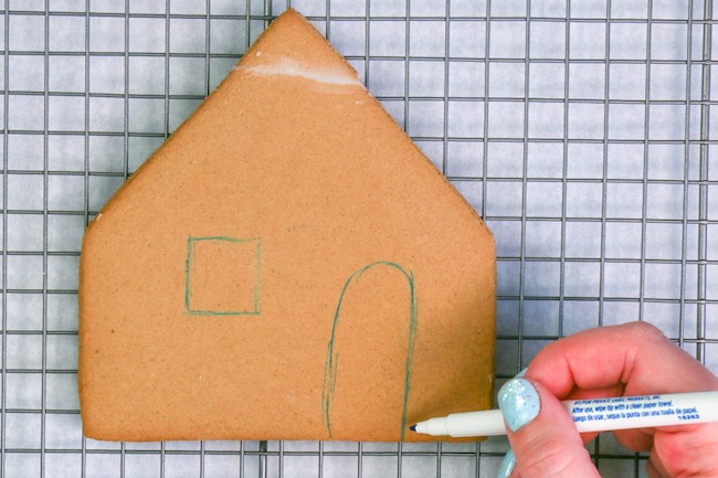 Sketching on Gingerbread House Pieces With an Edible Food Marker | Erin Gardner | Erin Bakes
