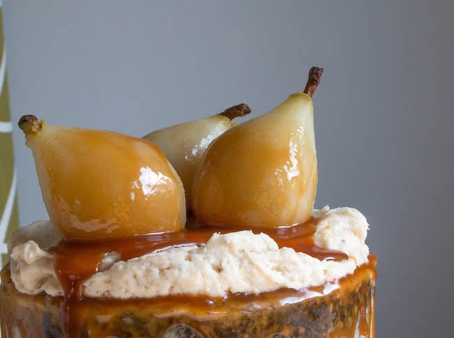 Poached Pears Covered in Caramel Sauce | Erin Gardner | Erin Bakes