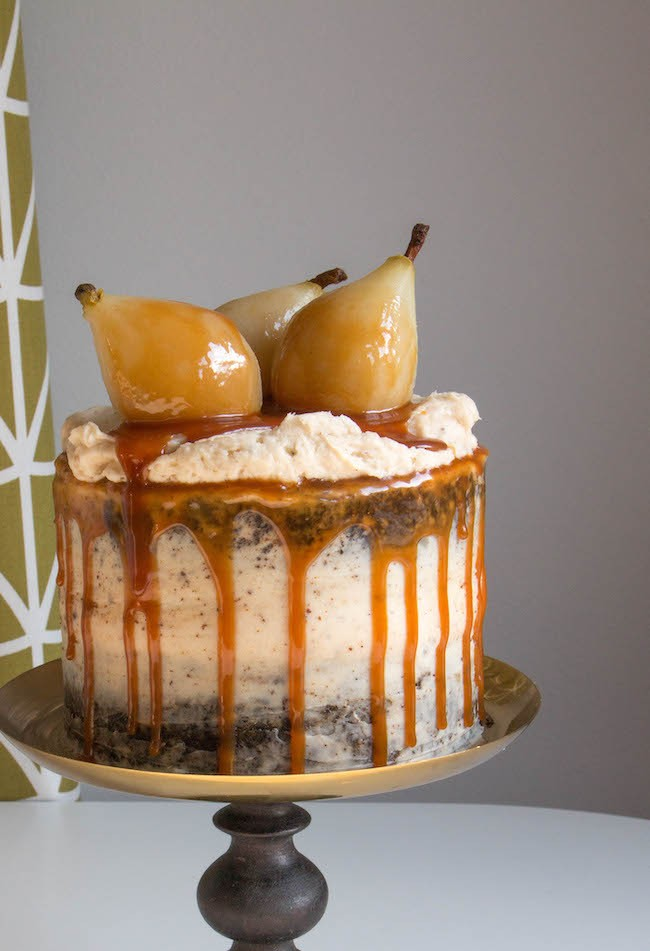 Poached Pears on a Gingerbread Cake Filled with Brown Butter Cream Cheese Frosting, Drizzled with Caramel Sauce | Erin Bakes
