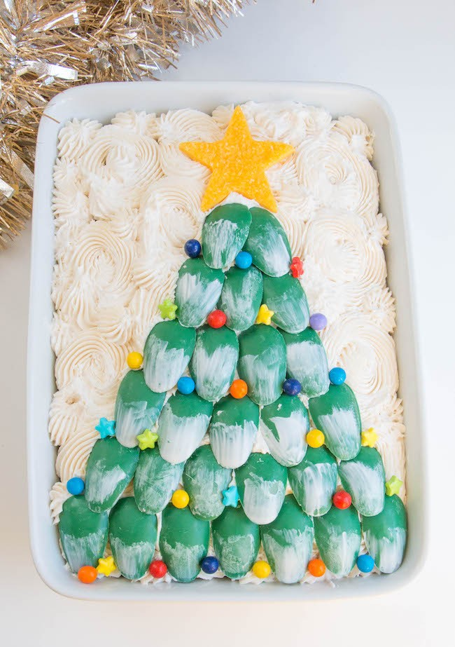 Chocolate Christmas Tree Sheet Cake Decorated with Candy | Erin Bakes