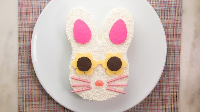 Sprinkle Bunny Cake with Pocky Cookie Whiskers | Erin Gardner | Erin Bakes