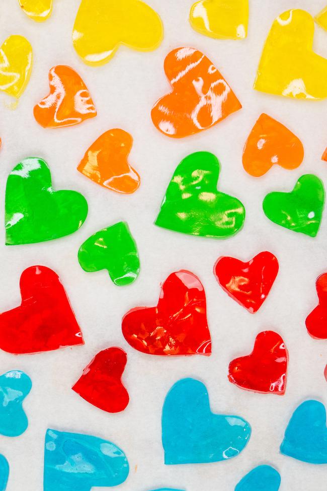 Rainbow gelatin hearts