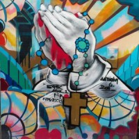 Praying with Rosary Clarion Alley Street Art