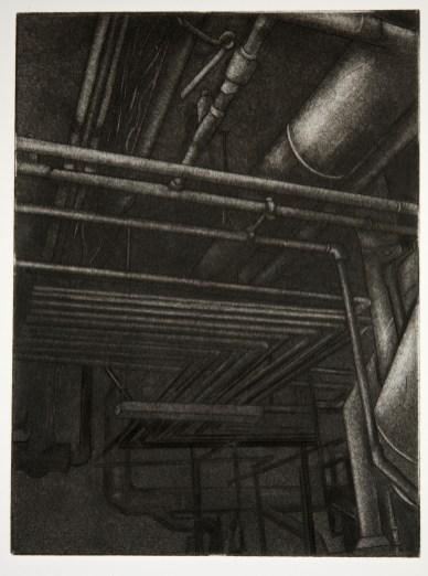 "Boiler Room IV, intaglio, 5"" x 6.75"", 2008."
