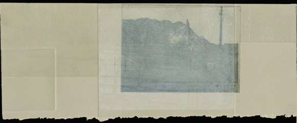 "Untitled fragment, intaglio print, 13""x6,"" 2010."