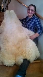 Kara with a sheep pelt