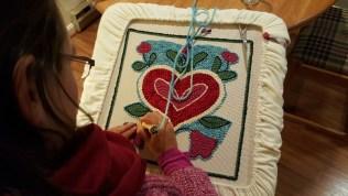heart rug in progress