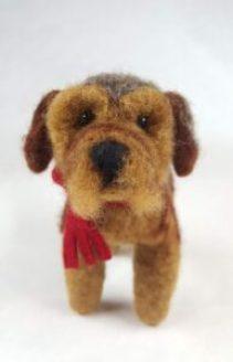 felted dog face