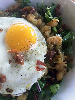 Kitchen Purge: Egg Topped Beans and Greens