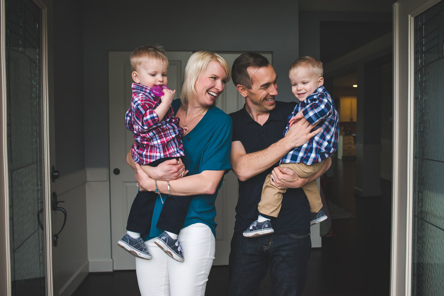 Smiling family of four taken by a Seattle Family Photographer in Issaquah WA home
