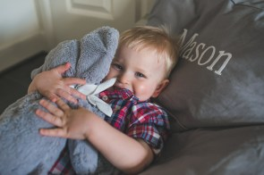A young toddler age boy being coy, hiding behind his stuffed elephant toy during a Seattle Family Photo session by a taken by a Seattle Family Photographer