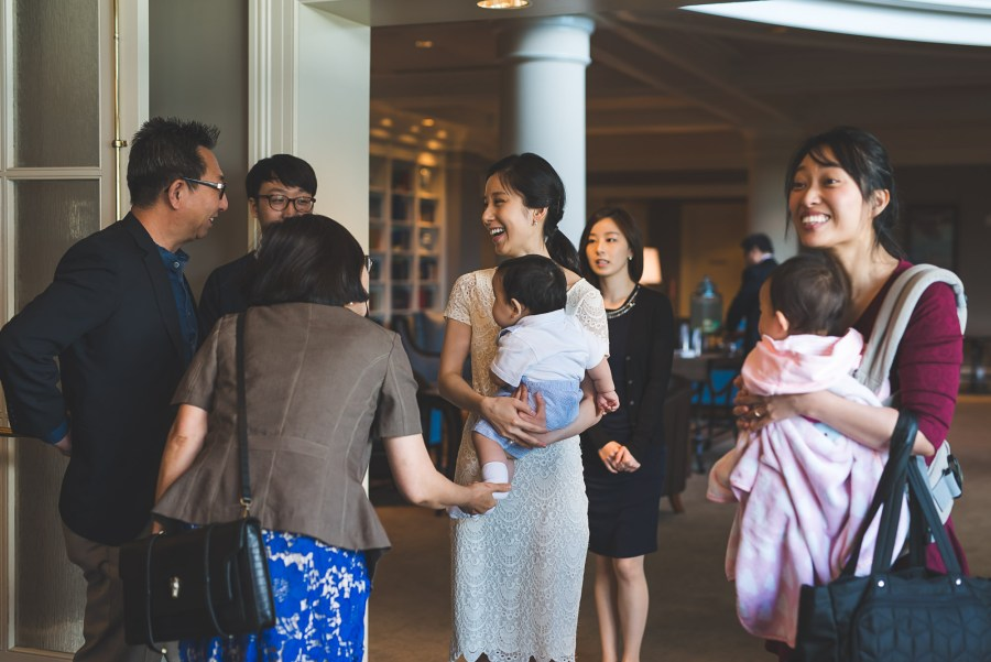 Guests mingling inside a hotel
