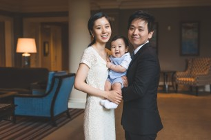Family of three in the Woodmark hotel in Kirkland