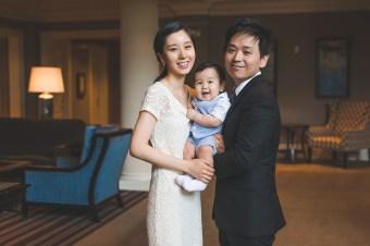 Family of three in the Woodmark hotel in Kirkland