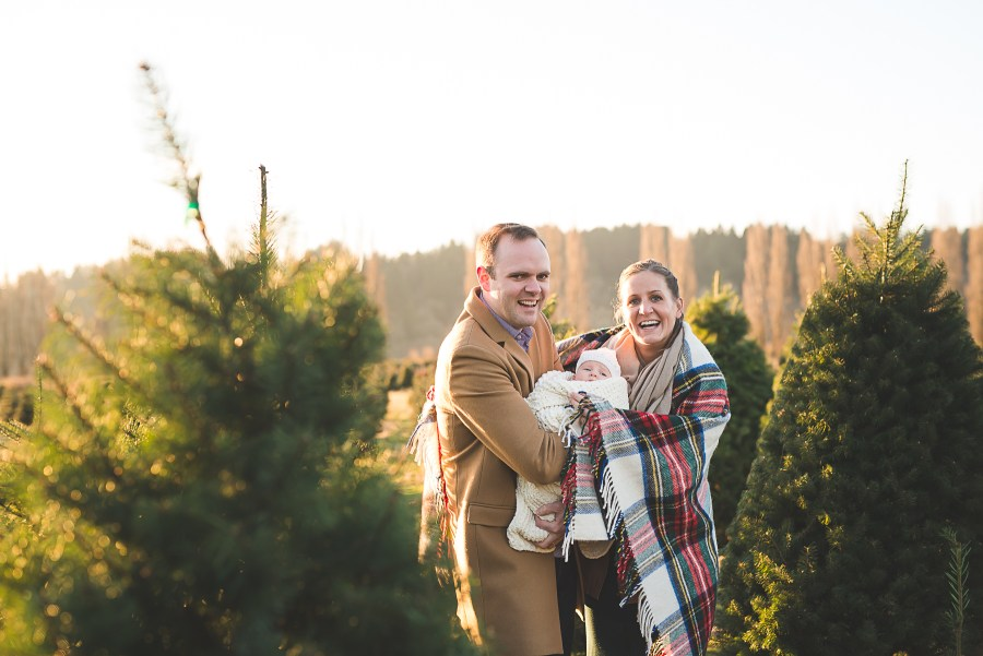 Seattle family and newborn photographer at Christmas tree farm