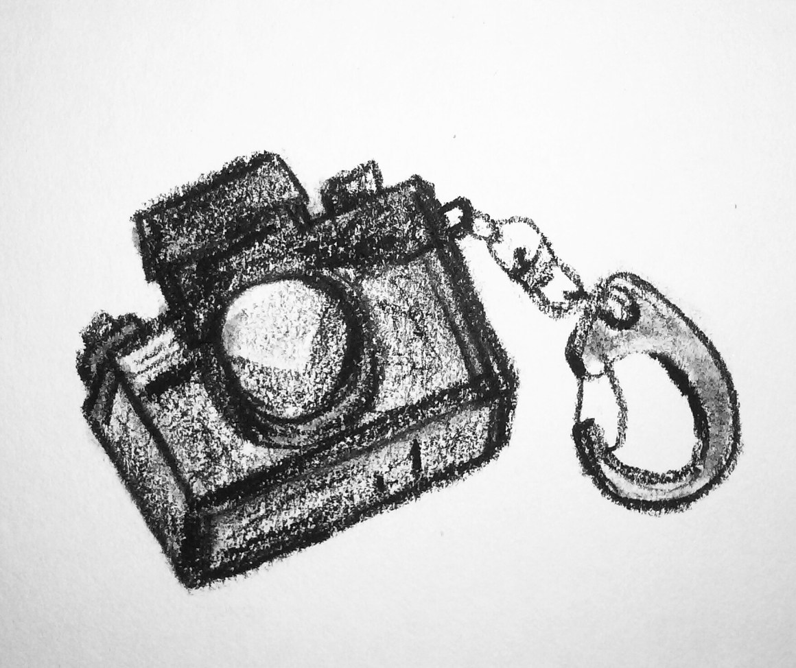 Coffee Sketch #14, created 1/28/16. Keychain camera.