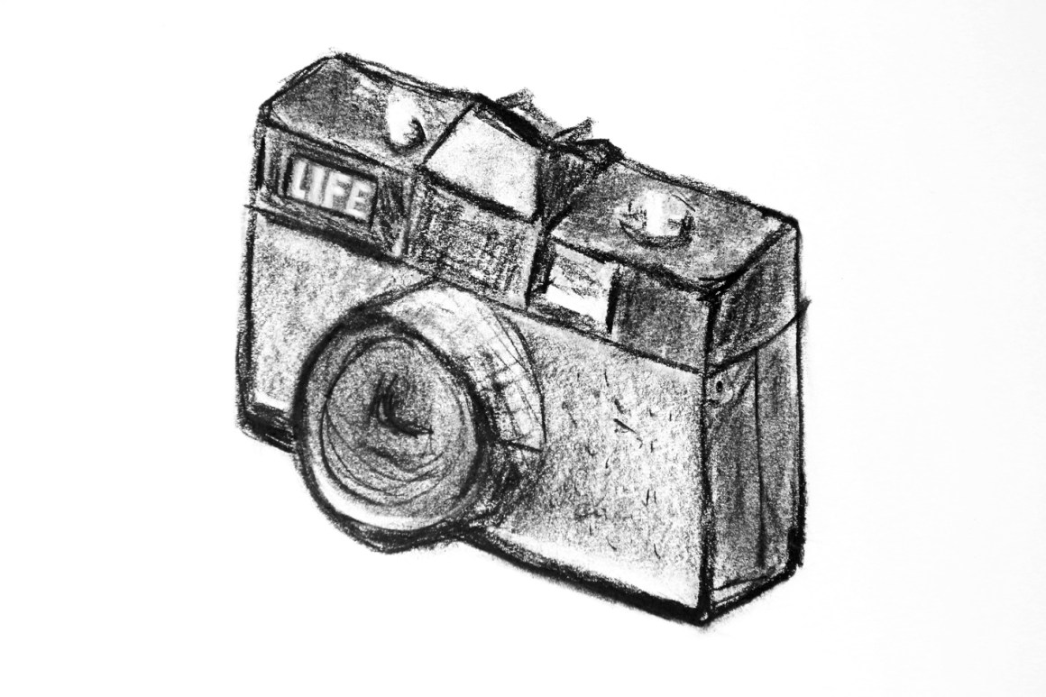 Coffee Sketch #6, created 1/16/16. LIFE Magazine Camera made by Lavec (1984).