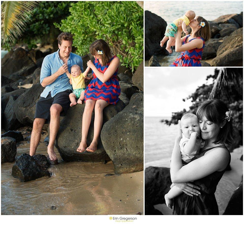 Kauai beach photos of family of three with baby boy