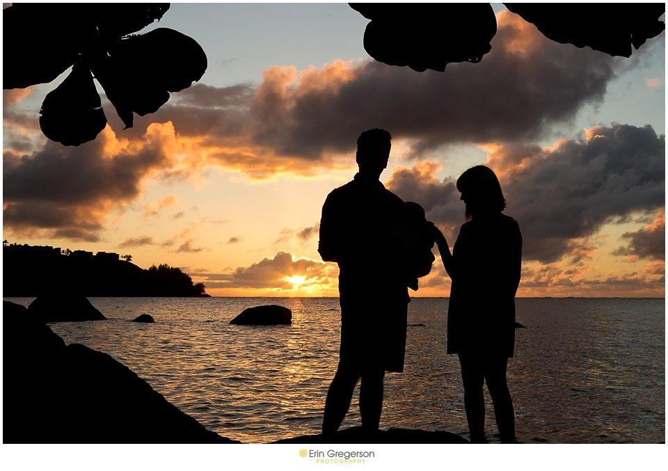 sunset kauai family beach photo