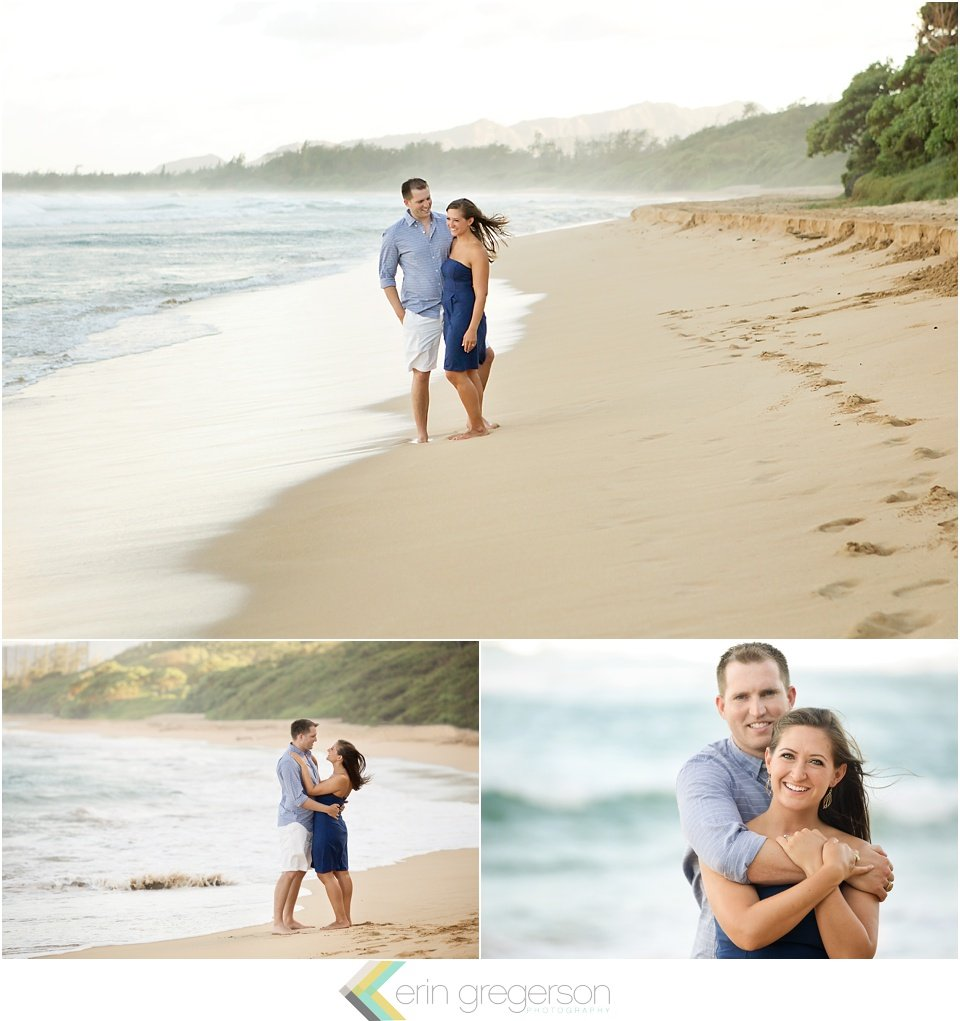 Kauai anniversary photos of couple dressed in blue on the beach by Erin Gregerson Photography