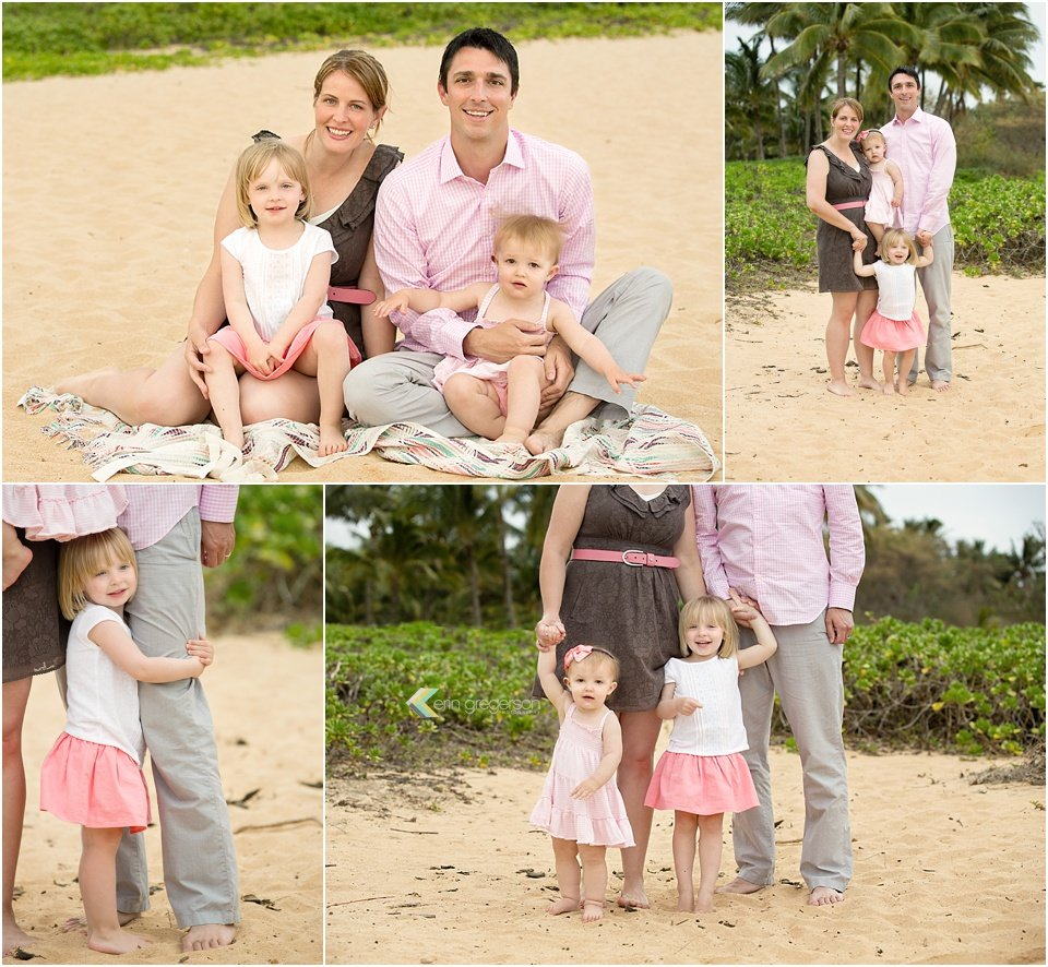 family photographer in kauai-images of family of four in pink gray and brown by erin gregerson photography