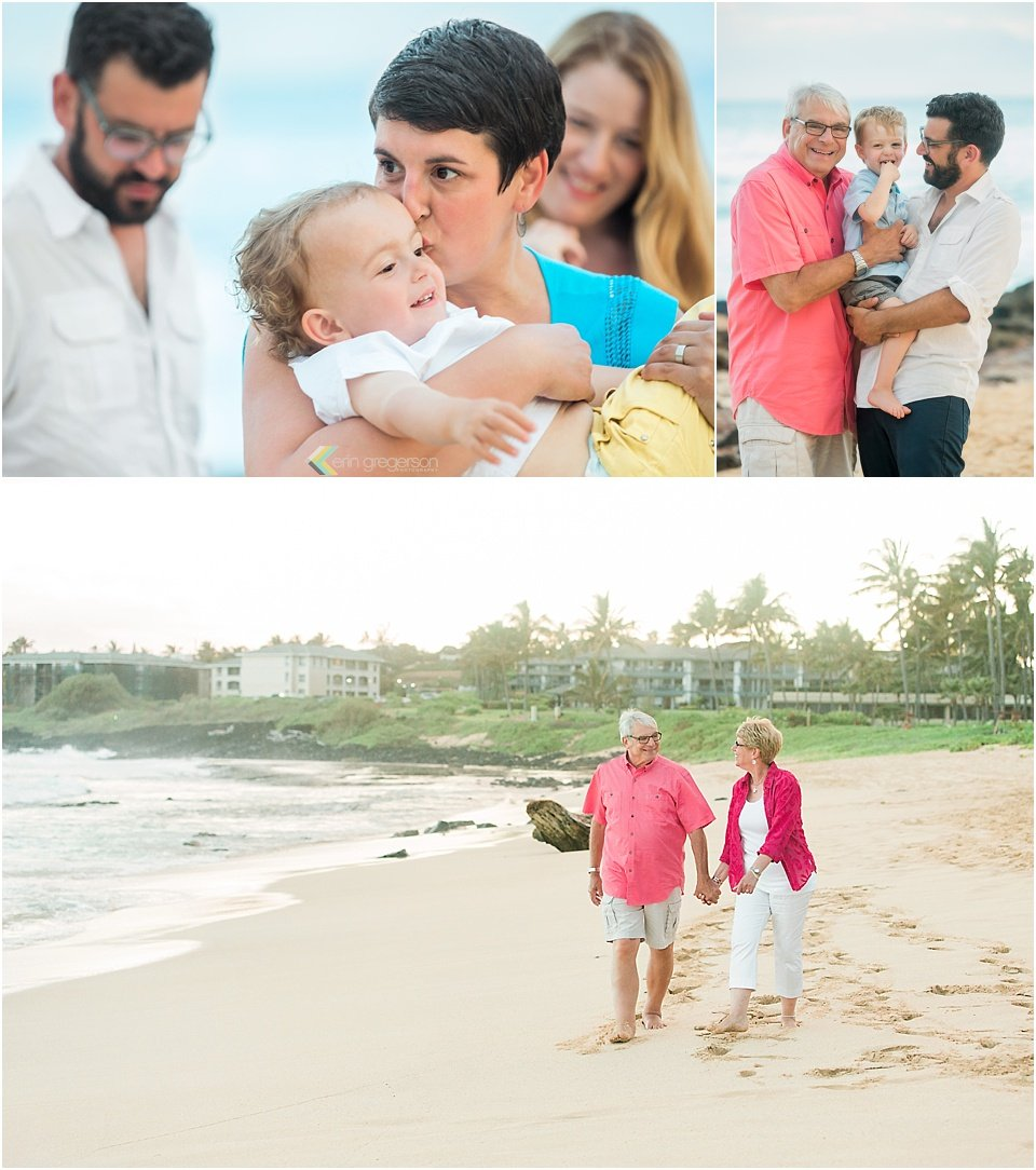 Collage of Kauai family session, blue, pink and yellow colors, interactive portraits