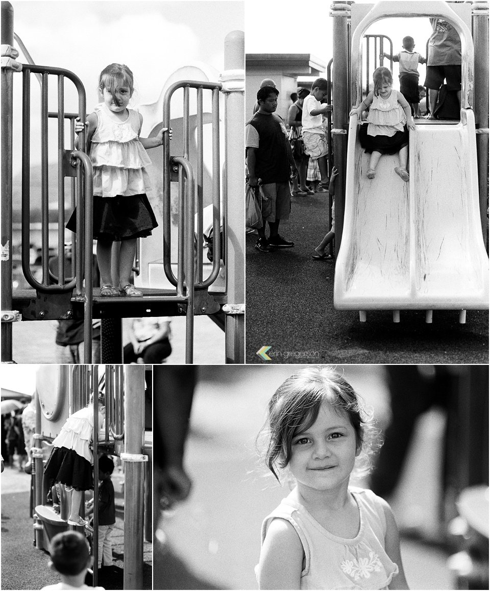 collage of little girl playing on a playground on black and white film.