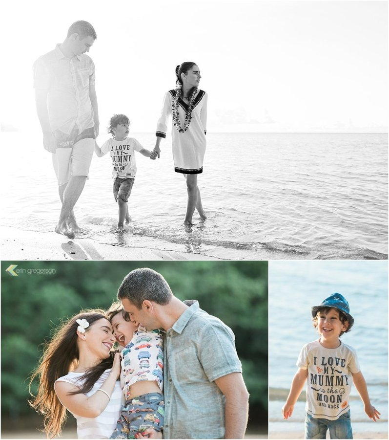 Kauai family photo collage of family of three with little boy on beach in beautiful light