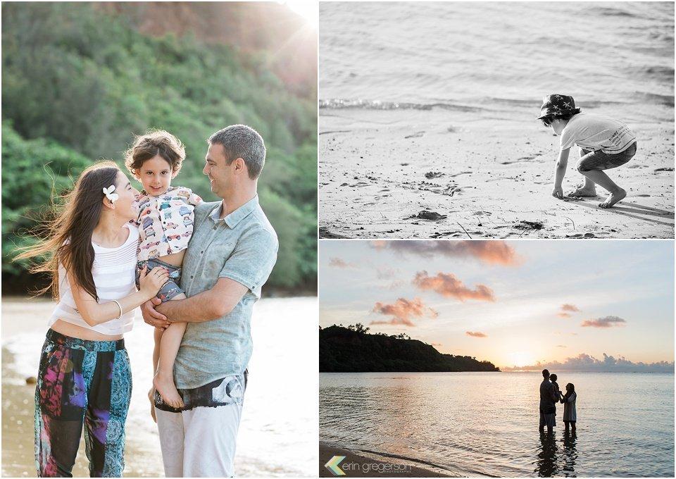 Family of three with little boy on the beach on Kauai