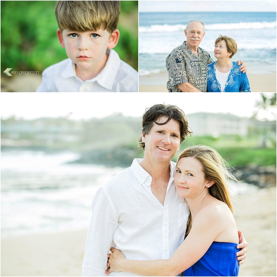 couple, and child portraits on Kauai beach