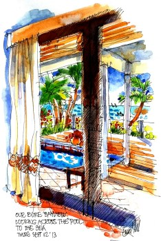 Our bure, looking over the pool to the sea