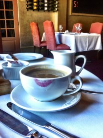Breakfast coffee at County Hotel Napier