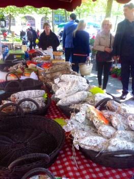 Sausage choices Carcassonne Sat, Market