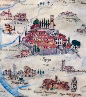 Monday. Vintage sketch of Barga and surrounds