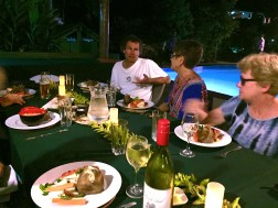 Monday Fiji. Dinner by the pool