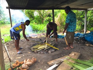 Saturday Fiji. Lovo in preparation