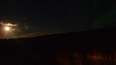 Bright moon and Northern lights