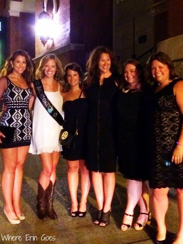 Ashlyn's bachelorette party outside Legends Corner and the Ryman Auditorium. (Photo courtesy of Niki Lawn)