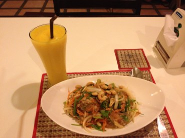 Glass noodle salad with pork, and a mango/passionfruit smoothie (my favorite!)
