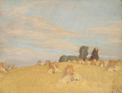J.E.H. MacDonald, Harvest Field at Thornhill, 1913. Oil on canvas (16.2x22.5 cm). Vancouver Art Gallery no. 86.189